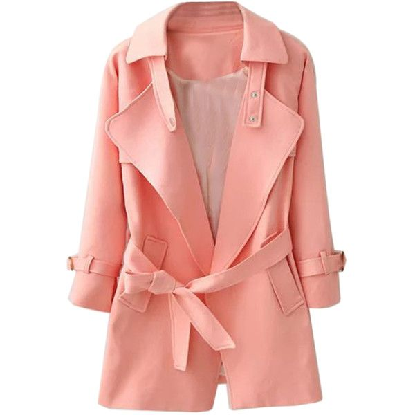 Choies Pink Lapel Belted Waist Pocket Slim Trench Coat (73 CAD) ❤ liked on Polyvore featuring outerwear, coats, pink, trench coat, red trenchcoat, pink trench coat, pocket coat and slim coat