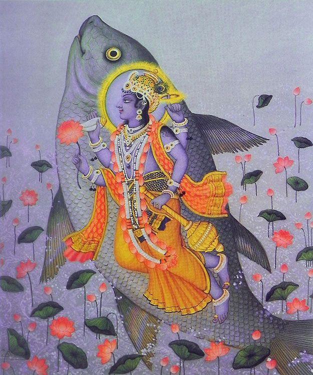 Matsya Avatar - Incarnation of Lord Vishnu (Reprint on Paper - Unframed)