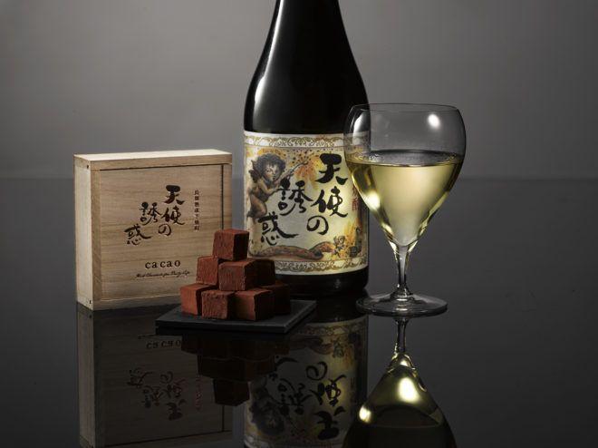 焼酎は鹿児島の創業170年以上の老舗・西酒造の、樽熟成の芋焼酎『天使の誘惑』