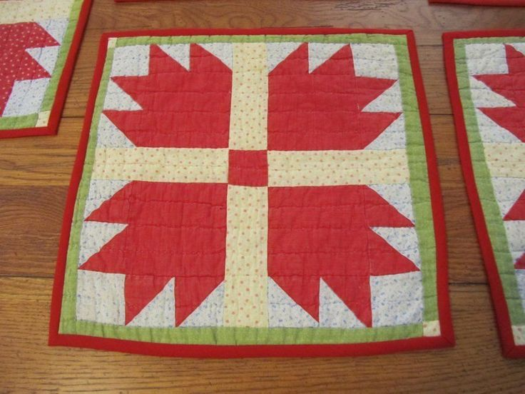 """7 Antique 1890s Bear Paw Turkey RED Table Doll QUILT s 15 x 15"""""""