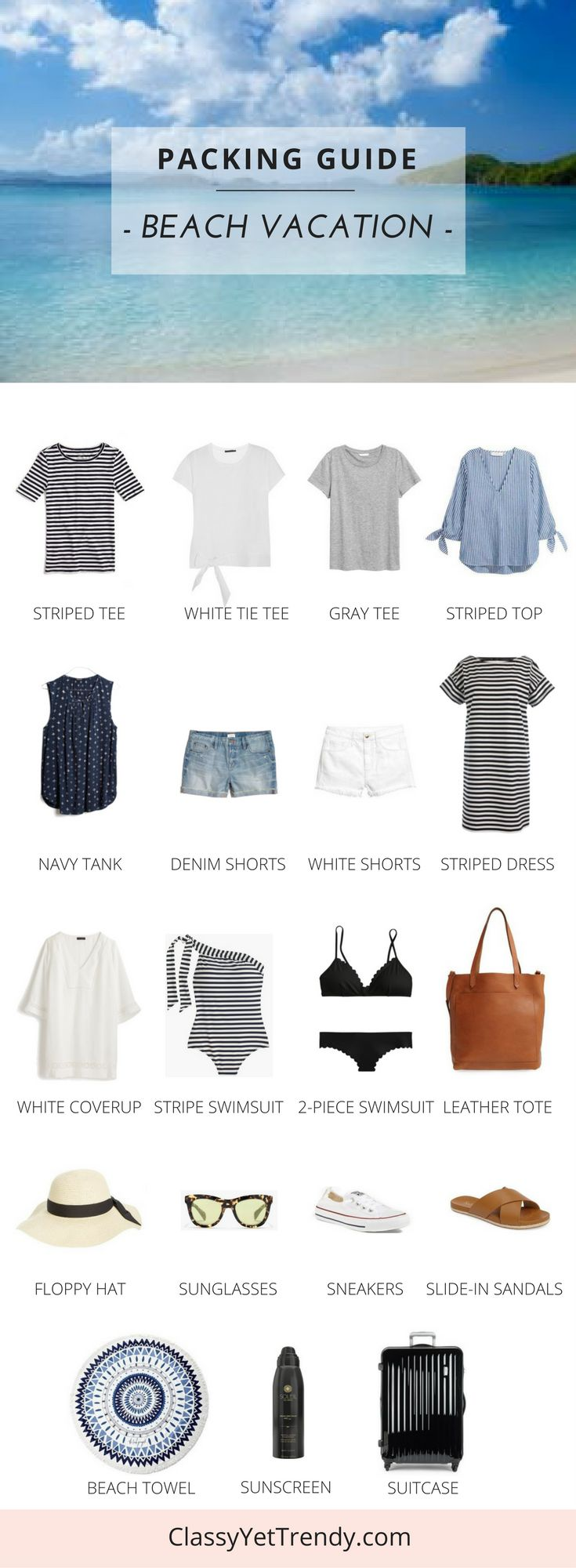 See what to pack for Spring Break or a Summer Vacation, with this packing guide and a few outfit ideas! You may already have these in your capsule wardrobe / closet: denim shorts, white shorts, striped tee, gray tee, white tie top, striped dress, navy tank, slide in sandals, converse sneakers, leather tote, swimsuit with linen coverup. They all fit in a carryon suitcase!