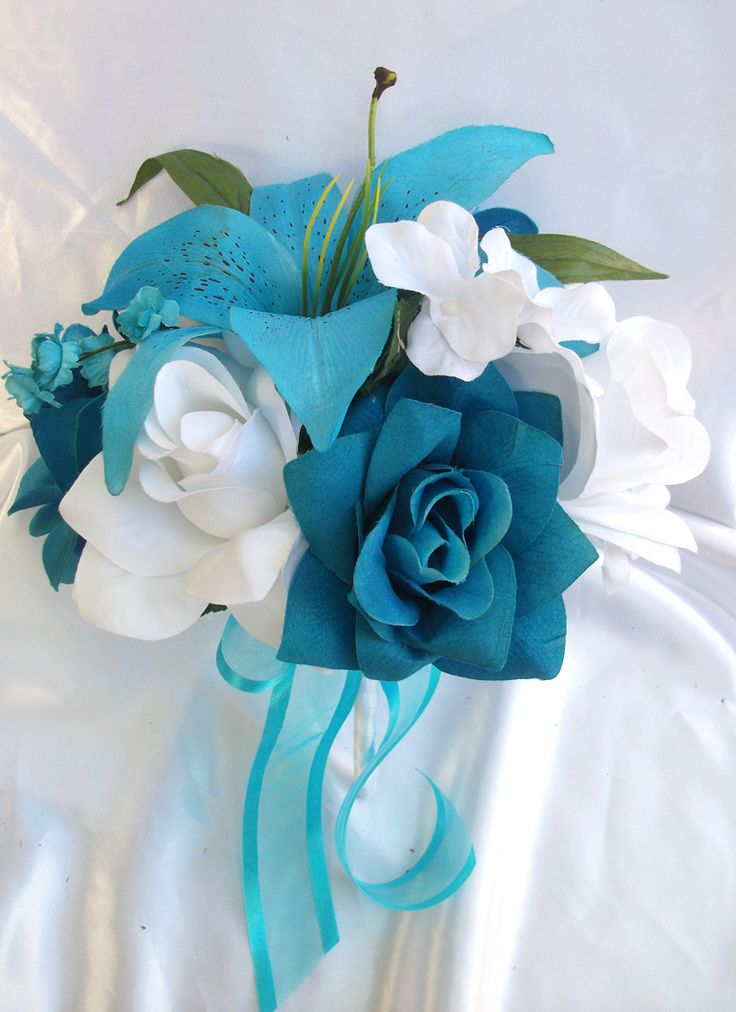 boutonniere flower | ... Wedding Bride Bouquet Boutonniere Corsage Package TURQUOISE WHITE