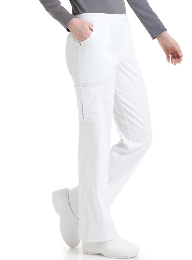 Style Code: (UR-9300) Get a comfortable fit with this pair of bootcut silhouette scrub pants from Urbane Medical Uniforms. It has a natural fit and a flat front waistband that features an inside drawstring and back elastic. Its two roomy front scoop pockets with logo rivet at side seam has a pocket bag stitched detail. On the right side is a cargo pocket and the back yoke design on seam back pockets are added with pocket bag stitched detail.