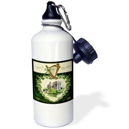 3dRose Erin Go Braugh Blarney Castle (Vintage), Sports Water Bottle, 21oz, White