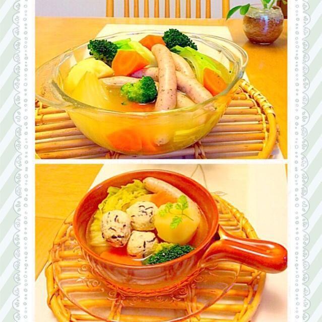 最近肌寒くなってきたので温まるスープはほっとしますね ポトフはお野菜を楽しみたかったので、じゃがいも,人参,ブロッコリーなどはあえて大きめにカットしてキャベツや玉ねぎは少し芯をつけたまま固まりでウインナもそのまま入っています✨ 翌日は残ったポトフに挽肉におからとひじきを入れた団子を加えてスープで頂きました  ダイエット中の主人は先日のハンバーグといい団子におからが入っていることは気付かずに食べてます - 317件のもぐもぐ - ゴロゴロ野菜のポトフ            そして翌日リメイク✨                     おからひじき団子スープ by くうちゃん
