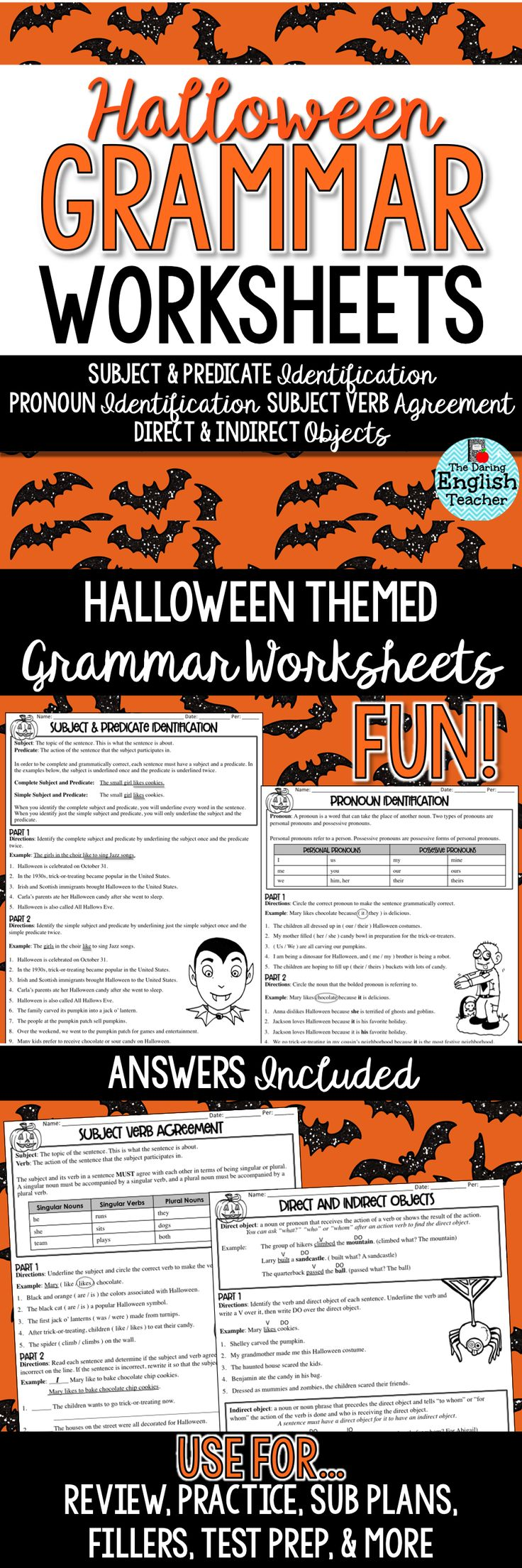 Engage your students in thoughtful and meaningful grammar instruction this Halloween season with Halloween Grammar Worksheets for the middle school and high school English language arts classroom!