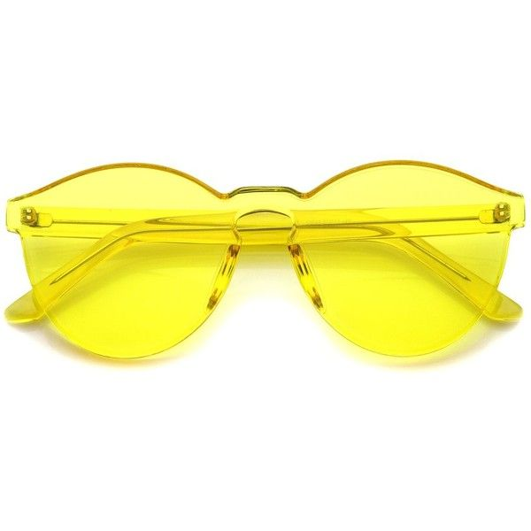 One Piece PC Lens Rimless Ultra-Bold Colorful Mono Block Sunglasses... ❤ liked on Polyvore featuring accessories, eyewear, sunglasses, multi colored sunglasses, block sunglasses, translucent sunglasses, colorful sunglasses and multi color sunglasses