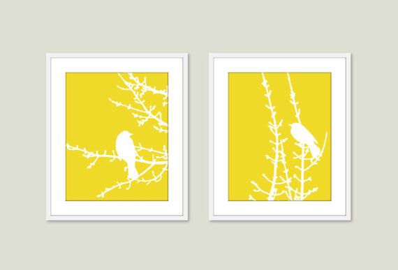 Spring Birds and Branches - Wall Art Print Set - Yellow Lemon Zest - Modern - Woodland -  Spring Summer Home Bird on Twig Decor on Etsy, $33.00