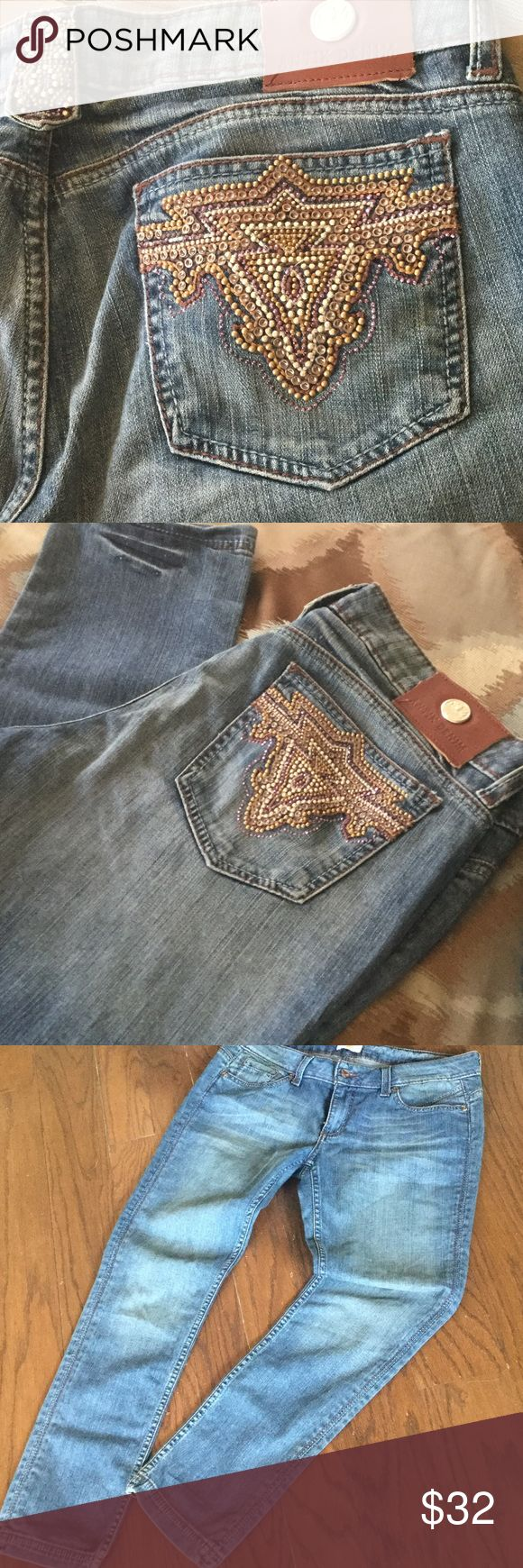 """ANTIK DENIM JEANS! Beautiful bejeweled jeans, with embellished design on the back pocket and belt buckle.  Size 32 with 30"""" inseam, 39"""" Total length. Straight cut.  Denim color closest to pics 1&2.  H070520. Antik Denim Jeans"""