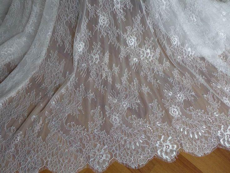 Мягкий белый французский шантильи кружевной ткани элегантный цветочный свадьба ткань фату кружевной ткани один дворкупить в магазине LacewoodнаAliExpress