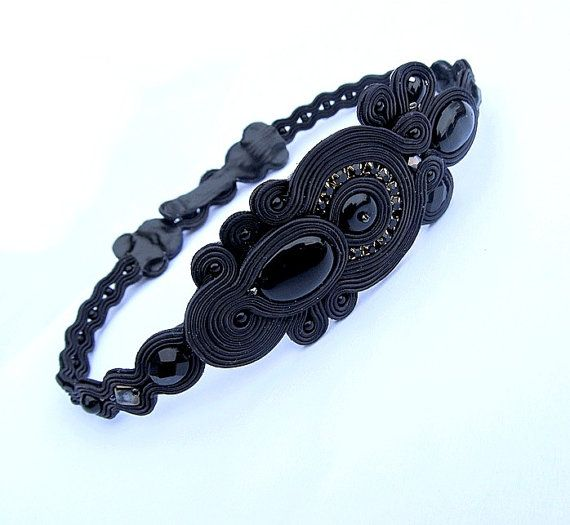 High Fashion Soutache Necklace Choker Black Modern by StudioGianna, $125.00