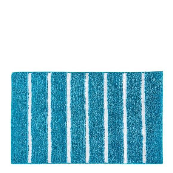 Dieser Badteppich Von ESPOSA Bringt Wohnlichkeit In Ihr Badezimmer! Die  Fröhliche U003cbu003eStreifenoptik U003c/bu003ein Den Farben Petrol Und Weiß Setzt Farbige  Akzente ...