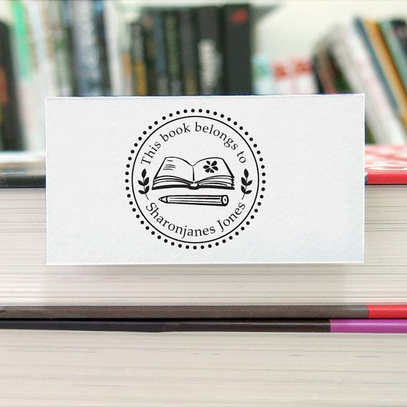 Personalized Books Graphic Bookplate Stamp r17 by HappyStampStudio
