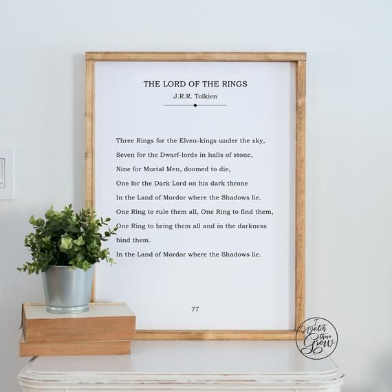 One Ring To Rule Them All Quote Page Number Lord Of The Rings Book Page Print One Ring To Rule Tolkien Quote Sign Printable Literature Wall Art Diy Book P Wall Art Quotes Diy Book Secret Garden Book