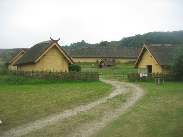 Reconstructed village at the Fyrkat Viking Museum