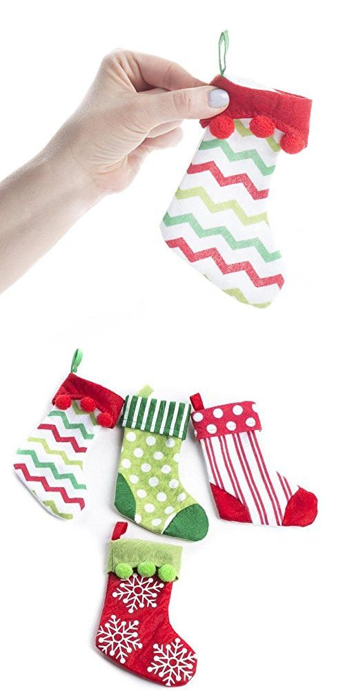 Factory Direct Craft Package of 16 Assorted Colorful Whimsical Miniature Christmas Stockings for Holiday and Home Decor, Small Giftsand Gift Card Holders