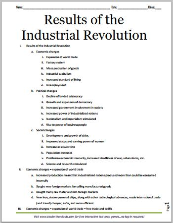 Results of the Industrial Revolution - Free Printable Outline for Grades 7-12
