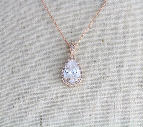 Rose gold Bridal necklace Crystal Wedding necklace by treasures570