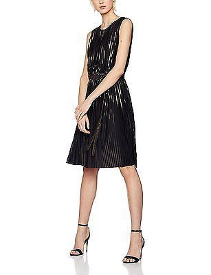 Large, Black (Black/Gold), FIND Women's Pleated Metallic Stripe Dress NEW