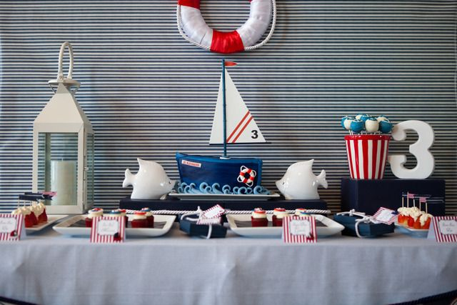 Pretty nautical dessert table
