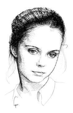 21.03 чернила портрет, девушка.  Традиционные методы рисования
