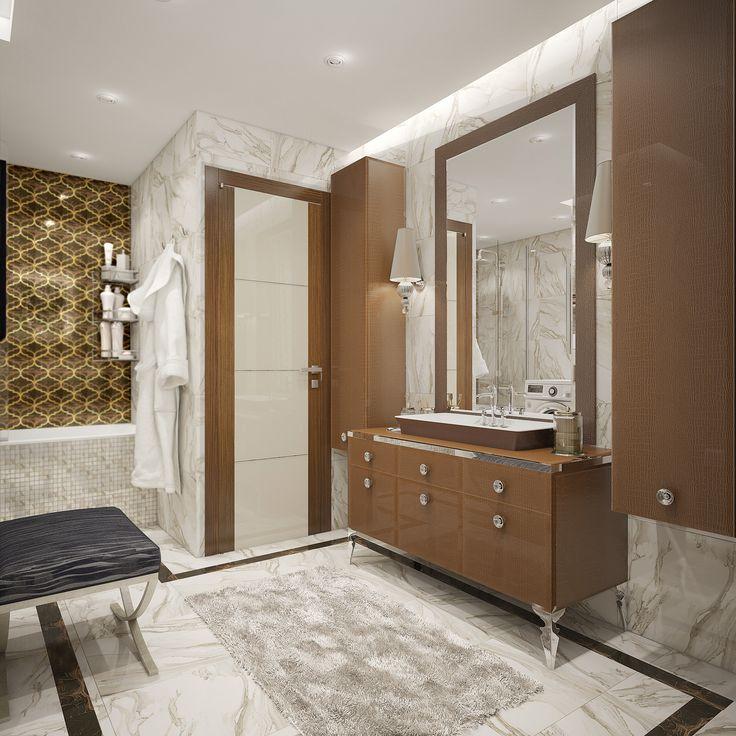 Основная ванная комната выполнена в сером цвете с насыщенными акцентами темного дерева и золотистой плитки.