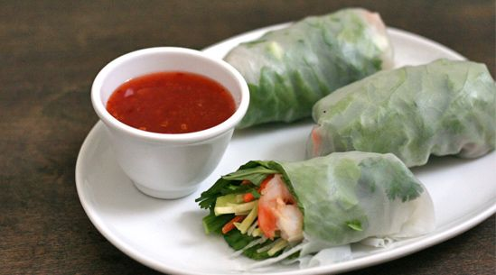 Vietnamese-style summer rolls - apart from the fact they forgot to actually put the glass noodles into the rolls!