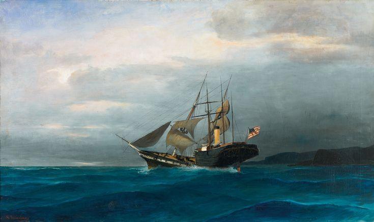"""Κωνσταντίνος Βολανάκης (1837-1907) """"Ιστιοφόρο και ατμόπλοιο"""", Konstantinos Volanakis"""