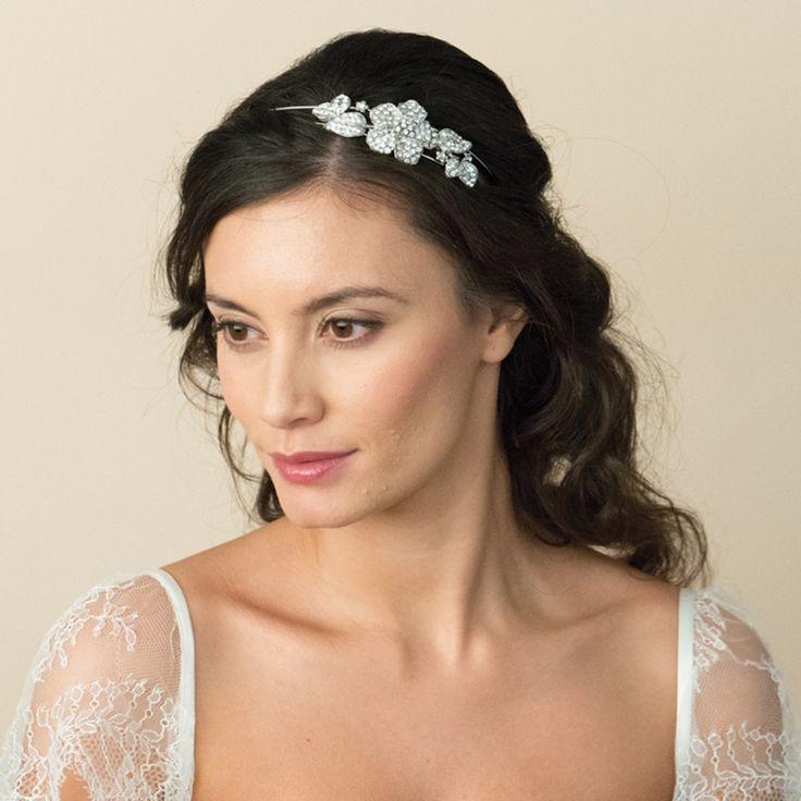 Diamante Flower bridal double headband