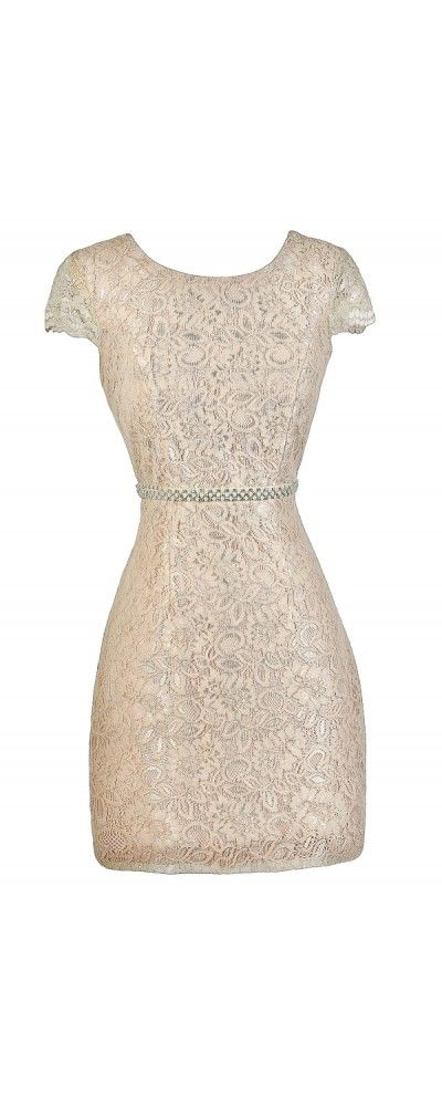 Champagne Blush Pearl and Rhinestone Embellished Lace Dress  www.lilyboutique.com