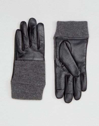ASOS Leather And Knit Mix Gloves With Touch Screen – Black. Tall Women's Clothing at PrettyLong.com