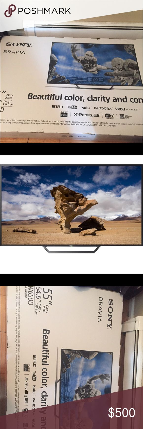55inch Sony Bravia smart tv still in box 55inch. Smart tv. Brand new in box. Never opened. Have receipt. Black. This year 2017 model sony Accessories