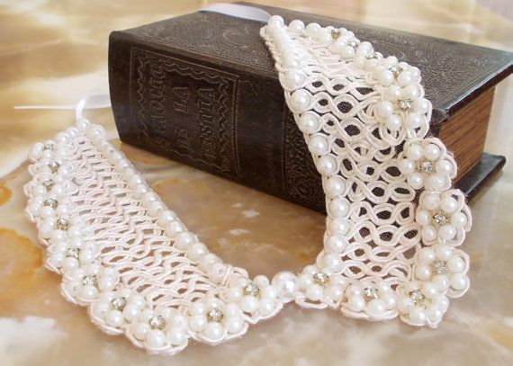 Ivory Wedding Peter Pan Collar Necklace, Vintage Style, Preppy, Beaded Detachable collar, FREE SHIPPING, Under 50 Gift for mom