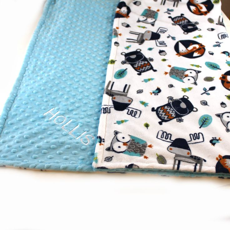Fox Minky Baby Blanket For Boys / Personalized Baby Blanket - Gray Blue Woodland Animal Minky Baby Blanket // Animal Blanket / Name Blanket by Sewingdreamsnotions on Etsy