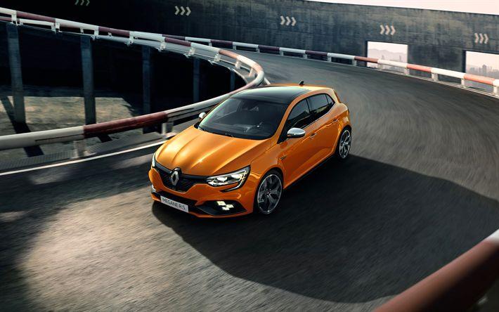Download wallpapers 4k, Renault Megane RS, street, 2018 cars, new Megane, road, Renault