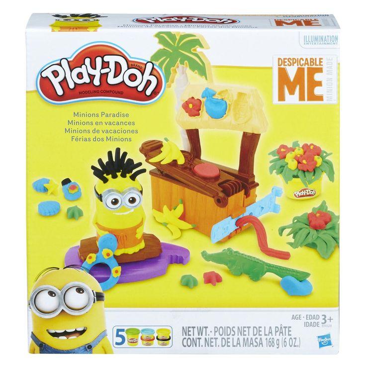 Ga met de Minions op vakantie naar het Play-Doh paradijs. Creëer tropische palmen en struiken, een echte cocktailbar en kleed het paradijs aan met zomerse accessoires. Maak een zwembroek voor de Minions en maak het paradijselijke eiland compleet met gele bananen. De set bevat een tropische Play-Doh Minions Paradijs speelset, 5 potjes gekleurde boetseerklei, een kleipers, een vormstrip, een Minion met surfplank en een krokodil snijder. Afmeting: verpakking 21 x 20 x 6,5 cm - Play-Doh Minions…