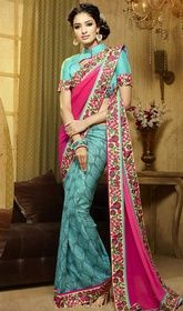 Blue and Pink Color Georgette Silk Embroidered Sari  #sareewithstones #sareeworldcom Illuminate your ambience with your lustrous look adorned in this blue and pink color georgette silk embroidered sari. The stunning lace, resham and stones work a vital feature of this attire. Upon request we can make round front/back neck and short 6 inches sleeves regular saree blouse also. USD $ 132 (Around £ 91 & Euro 100)