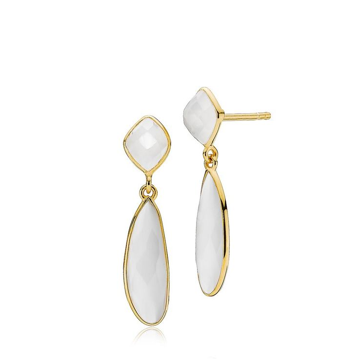 PRECIOUS earrings with beautiful white chalcedonys. The earrings are made of shiny gold plated sterling silver – Danish design jewelry by Izabel Camille. Price: EUR 105 No. A1412gs-white CL www.izabelcamille.com