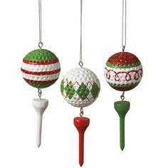 Golf Ball & Tee Christmas Ornament (Set of 3)
