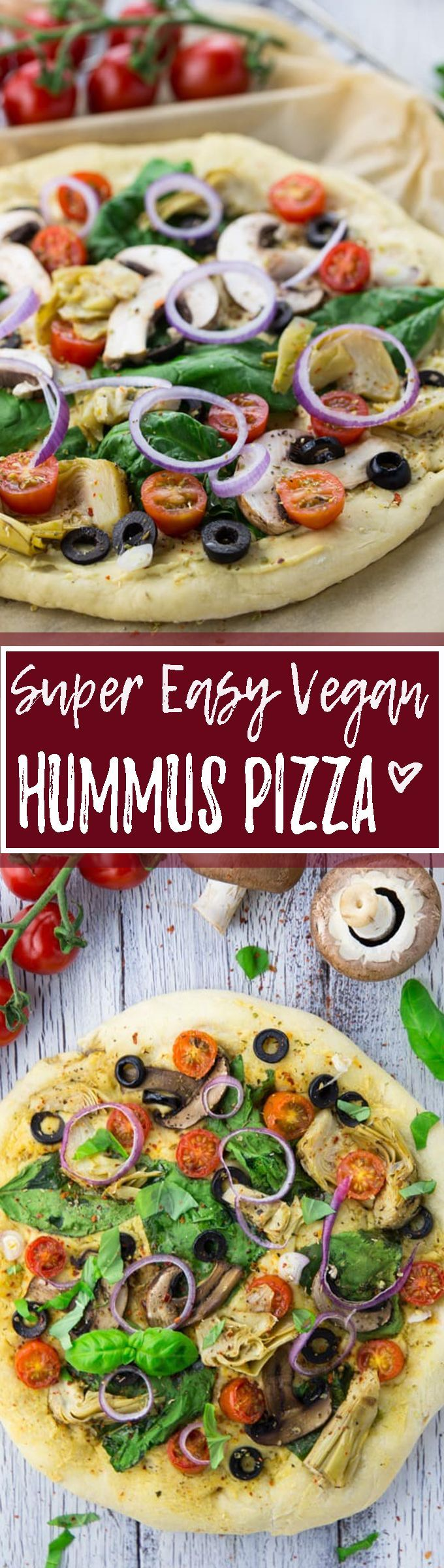 I love hummus and I love pizza. So I thought why not just try hummus pizza?! This veggie pizza with spinach, olives, and artichokes is one of my favorites! So YUMMY!