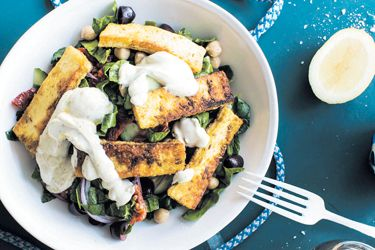 Greek chickpea salad with spiced haloumi and yoghurt