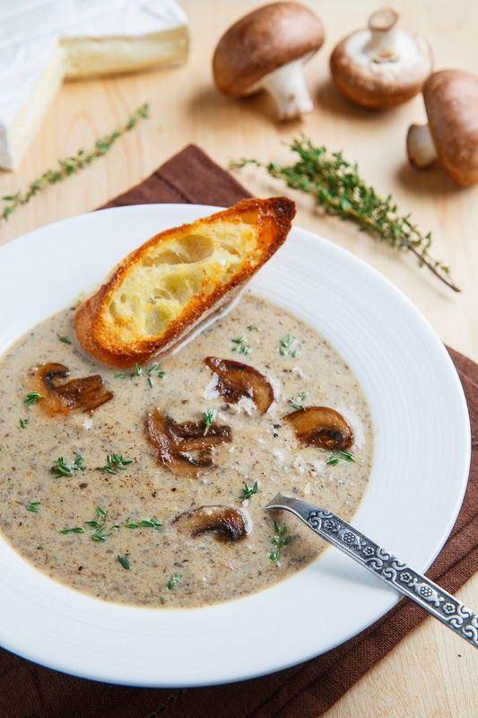 Creamy Roasted Mushroom and Brie 1 1/2 pounds mushrooms, quartered 2 tablespoons butter 1 onion, diced 2 cloves garlic, chopped 1 teaspoon thyme, chopped 2 tablespoons flour 1/2 cup white wine (or broth) 4 cups vegetable broth or chicken broth 4 ounces brie, cut into 1 inch pieces 1/2 cup milk or heavy cream salt and pepper to taste