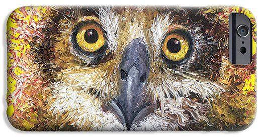 Owl painting on yellow background iPhone 6 Case by Jan Matson #iphonecase #galaxycase #samsungGalaxycase
