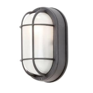 Marvelous Hampton Bay Black Outdoor Oval Bulkhead Wall Light