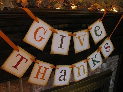 Fall Thanksgiving Give Thanks Banner Garland Word Sign Fireplace Decoration Photo Prop. $22.00, via Etsy.