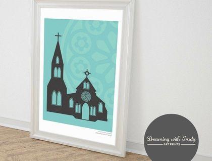 Christchurch Cathedral Memorial A4 Un-framed Print