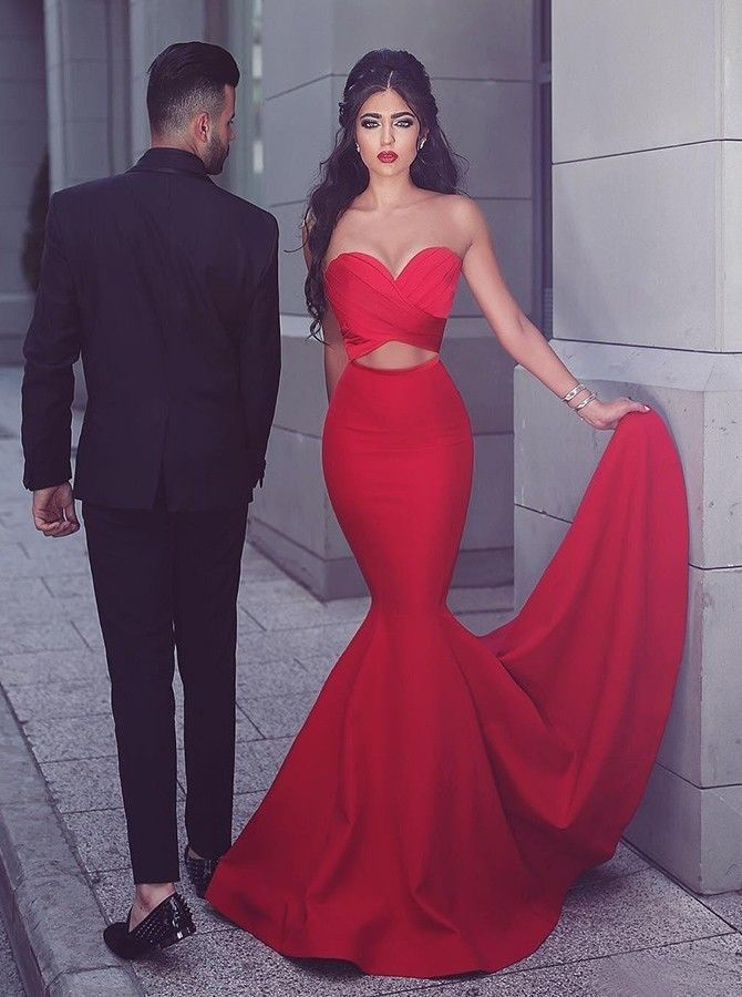 f7ab1682e6336 Mermaid Sweetheart Evening Dress Sweep Train Keyhole Cut Out Red Formal  Gowns Stretch Satin Prom ...