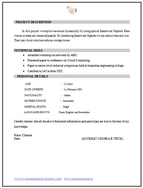 b tech fresher resume sample it 2  resume networking