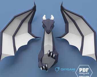 Low poly dragon, 3D papercraft dragon, DIY dragon, Do it yourself, Printable PDF pattern, Dragon papercraft, Drogon, Paper dragon, Mythical