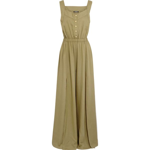Balmain Crepe jumpsuit (1 389 AUD) ❤ liked on Polyvore featuring jumpsuits, dresses, army green, olive jumpsuit, army jumpsuit, crepe jumpsuit, olive green jumpsuit and jump suit